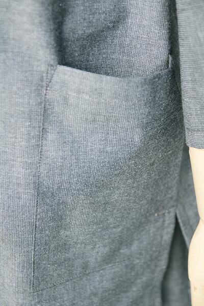 甚平(じんべい)ちぢみ織り・無地 上着ポケット