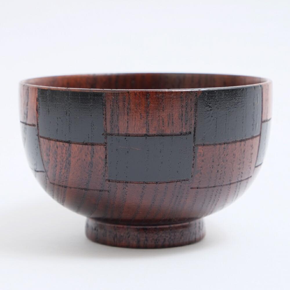 天然木製 汁椀 格子 黒 漆塗り