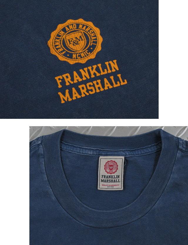 フランクリンと言えば、コレ♪FRANKLIN&MARSHALL,フランクリンアンドマーシャル,TSHIRT JERSEY ROUND NECK LONG,エンブレムロゴ プリント入り長袖Tシャツ,ワンポイントピグメントダイ加工TEE,#TSMF350KNW17