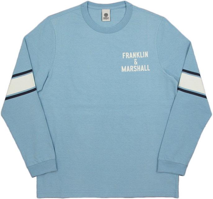 イタリア解釈の「アメリカンカレッジ&スポーツスタイル」と「リアルヴィンテージ」はますます健在★FRANKLIN&MARSHALL,フランクリンアンドマーシャル,TSHIRT JERSEY ROUND NECK LONG,プリント入り長袖Tシャツ,カットソー,#TSMF343ANS19,PASTEL BLUE(パステルブルー)