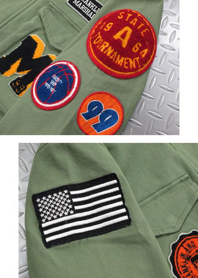 キャラ出し効果抜群★フランクリンのワッペン付きM-65ジャケット,FRANKLIN&MARSHALL,フランクリンアンドマーシャル,JACKET COTTON UNI LONG,ワッペン付き、ストレッチ M-65ジャケット,ミリタリージャケット,OLIVE GREEN(オリーブグリーン),JKMF551ANS19