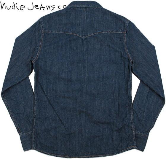 素材と加工にこだわった風合いのよさは格別★クールでスタイリッシュな、ヌーディーのウェスタンシャツ!Nudie Jeans co,ヌーディージーンズ,JONIS, TRUE WORN DENIM,8オンスデニムウェスタンシャツ