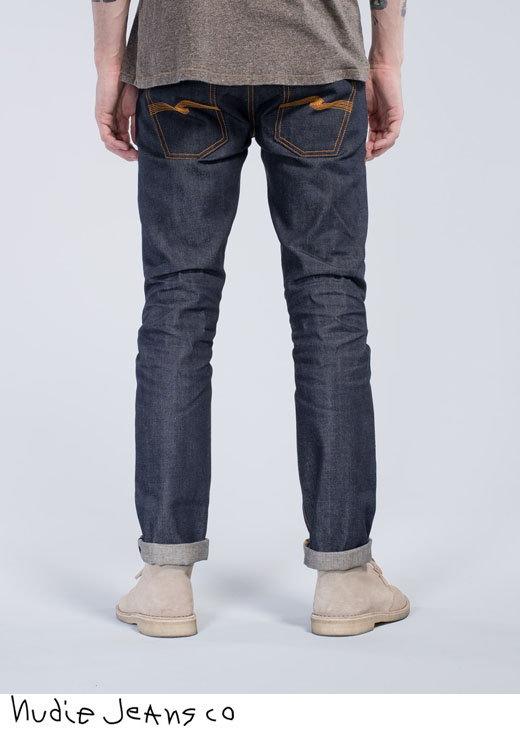 綺麗なテーパードラインが特徴★マニアも唸らせる、本格派セルヴィッチ・ジーンズ★Nudie Jeans co,ヌーディージーンズ,GRIM TIM,グリムティム,straight slim fit with normal rise, DRY SELVAGE,ドライ セルヴィッチ