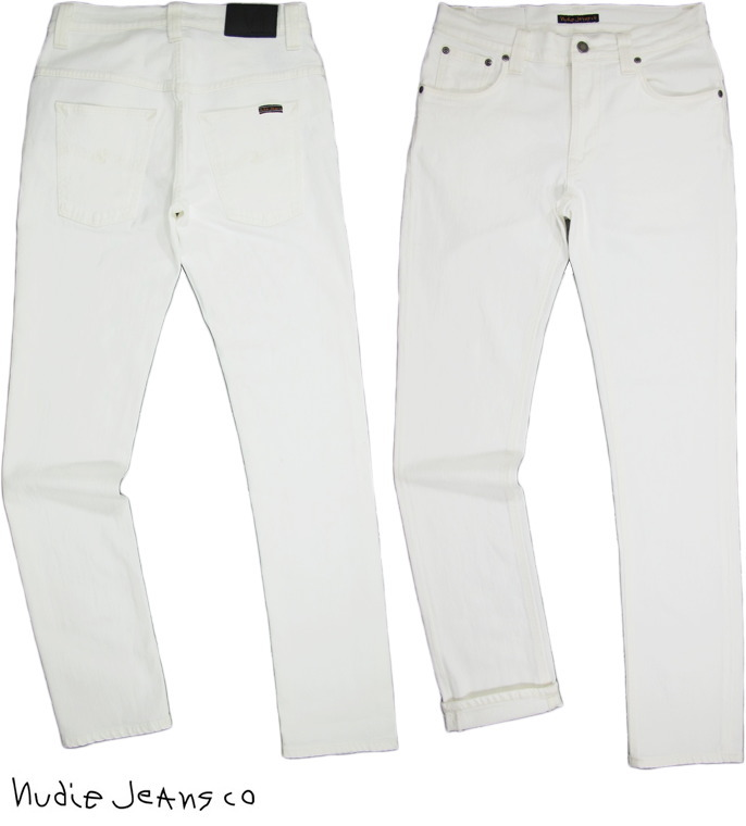 すっきり細身のテイパード白デニム♪Nudieを代表するスリムシルエット★THIN FINN★程よく伸びる上質でキレイなイタリア製ストレッチデニムを使用★Nudie Jeans co,ヌーディージーンズ,THIN FINN,シンフィン,ORG.WHITE NOICE,オーガニック、ホワイトノイス,