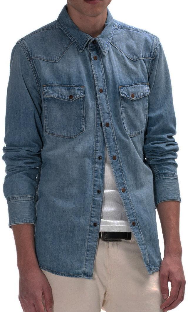 素材と加工にこだわった風合いのよさは格別★Nudie Jeans co,ヌーディージーンズ,JONIS, BRONSON BLUE DENIM,デニムウェスタンシャツ,Organic cotton, REGULAR FIT