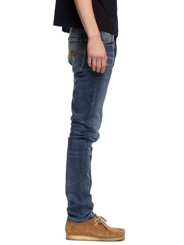 脚長効果と小尻効果のあるストレッチスキニーデニム、LEAN DEAN/リーンディーンの 味だしブルー★Nudie Jeans co,ヌーディージーンズ,LEAN DEAN,リーンディーン,LOST LEGEND,ロストレジェンド,ストレッチ・スキニーデニムパンツ