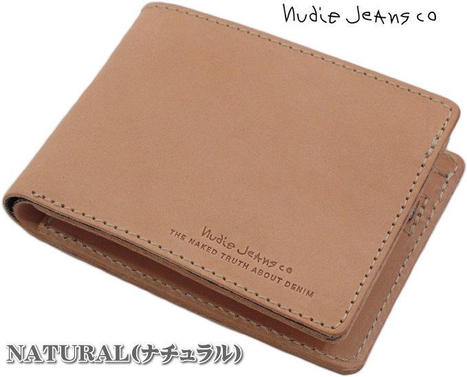 """使い込むほどに""""味""""がでる★エンボスロゴ入りウォレット。Nudie Jeans co,ヌーディージーンズ,CALLESSON, LEATHER WALLET,レザーウォレット,二つ折り財布,NATURAL(ナチュラル)"""