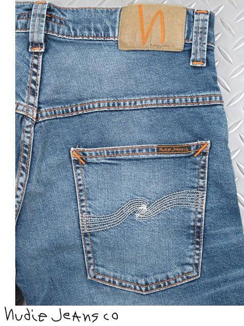 50'sの「キャロットシェイプ」に影響を受けた モダンシルエットのリアルな薄青カラー,Nudie Jeans co,ヌーディージーンズ,THIN FINN,シンフィン, MID BLUE ECRU,ミッドブルーエクリュ,スキニージーンズ,デニムパンツ