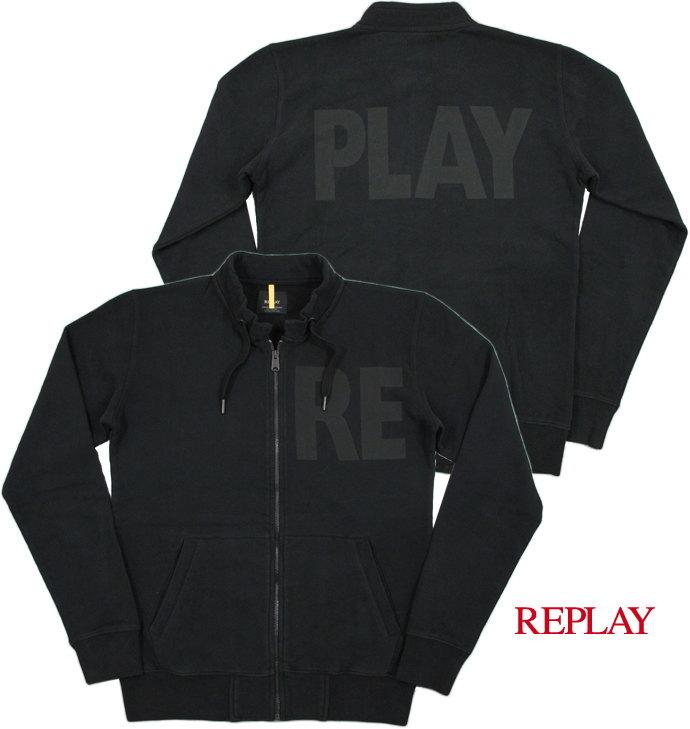 """モコモコ、ダボダボ感の無いスマートなデザインがウリ★気軽に羽織れる、リプレイの""""トラジャケ""""♪ REPLAY,リプレイ,M6824,SWEATSHIRT WITH REPLAY PRINT, REPLAYロゴ入り・トラックジャケット,BLACK(ブラック)"""