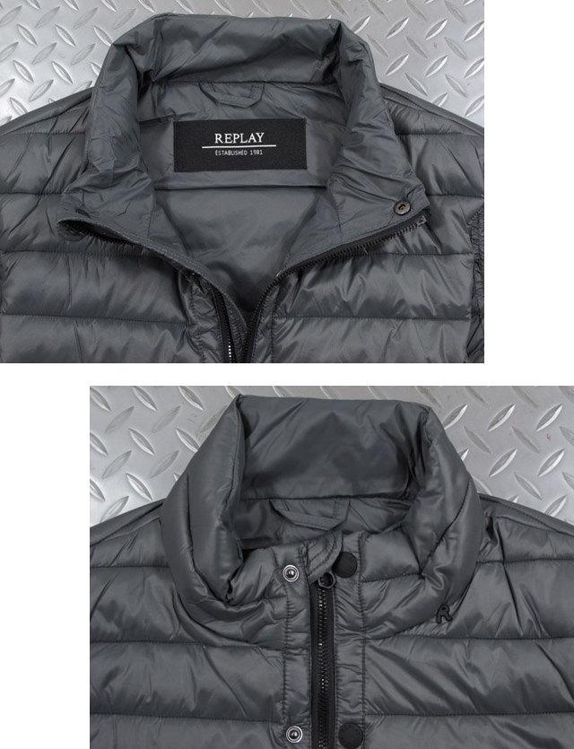 コートやジャケットなどのアウターの下に着るのにも最適★REPLAY,リプレイ,M8862, HIGH-COLLAR PADDED VEST,ダックフリーインナーダウン,中綿ベスト,キルティングジレ