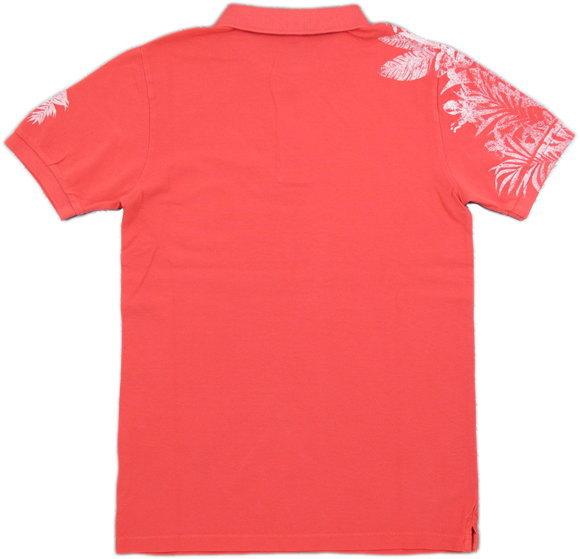 女性を虜にするキラーアイテム★REPLAY,リプレイ,M3194B, PIQUE POLO SHIRT WITH CONTRAST PRINT,ボタニカルプリント入り、半袖ポロシャツ,LIGHT RED(ライトレッド/ピンク)