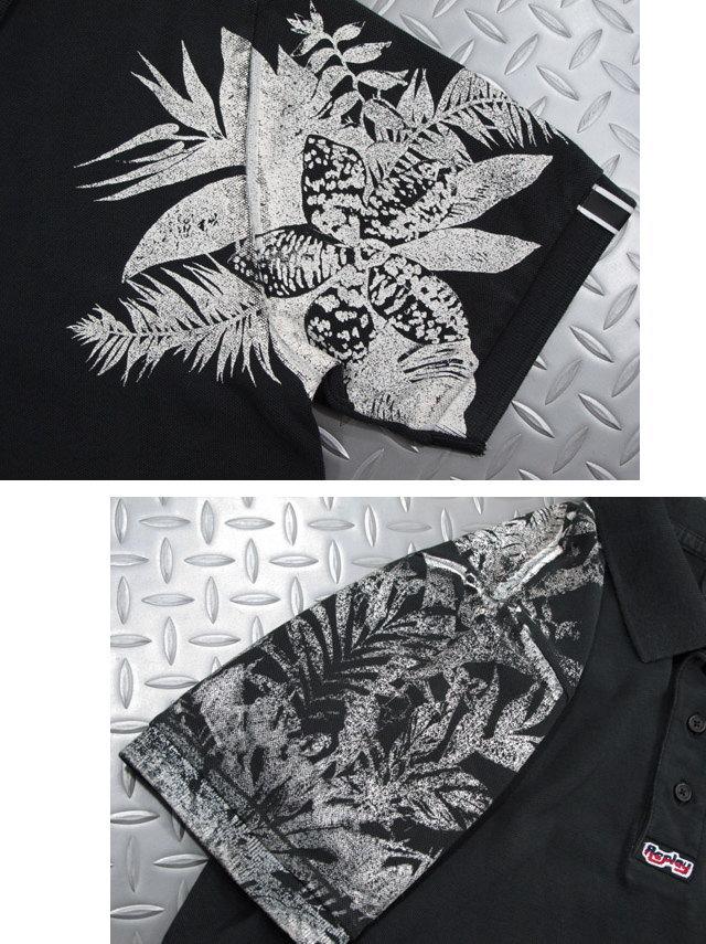 女性を虜にするキラーアイテム★REPLAY,リプレイ,M3194B, PIQUE POLO SHIRT WITH CONTRAST PRINT,ボタニカルプリント入り、半袖ポロシャツ,BLACK(ブラック)