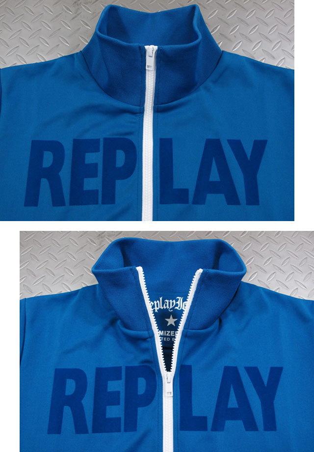 """スタイリッシュな着こなしが楽しめる★リプレイの""""トラジャケ"""",REPLAY,リプレイ,M3679A, TECHNICAL SWEATSHIRT ZIPPER,ロゴライン入り、トラックジャケット,ジャージ,トラジャケ,BLUE(ブルー)"""