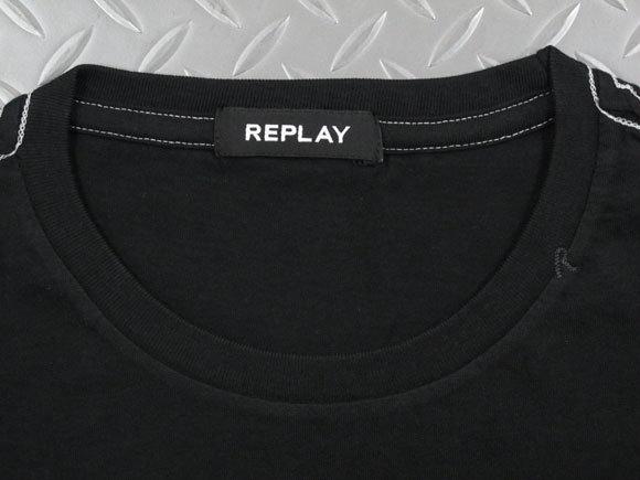 """圧倒的なクォリティの高さに要注目★""""ほどピタ""""シルエットが美しい、REPLAYの長袖プリントTEE,REPLAY,リプレイ,M3724,REPLAY BLUEJEANS LONG-SLEEVED T-SHIRT,長袖プリントTシャツ,ロゴ入り長袖カットソー,BLACKBOARD(ブラック)"""
