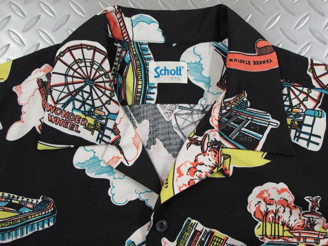 """ロックなテイストがshottらしい★スタイリッシュなハワイアンシャツ,Schott,ショット,#3195025, HAWAIIAN SHIRT""""NEW YORK MAP"""",コットン×レーヨン混、半袖ハワイアンシャツ,アロハシャツ,BLACK(ブラック)"""
