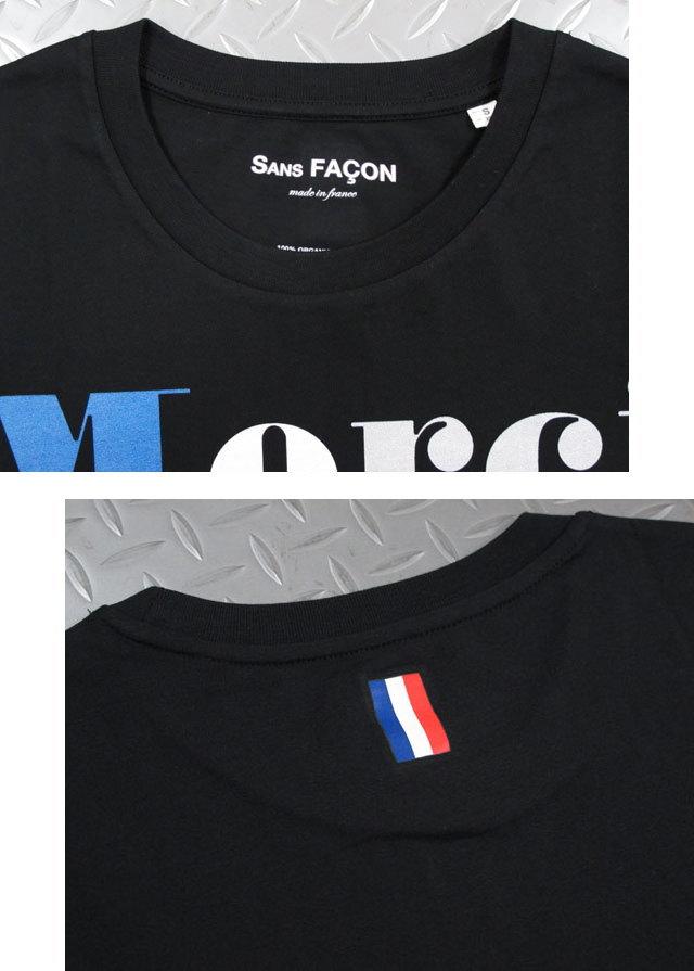 気取らず、かっこいいがコンセプト★フランスカルチャーにインスピレーションを受けたSANS FACON(ソンファソン),SANS FACON,ソンファソン,T-SHIRT UNISEX, Merci Non,半袖プリントTシャツ,カットソー,BLACK(ブラック)