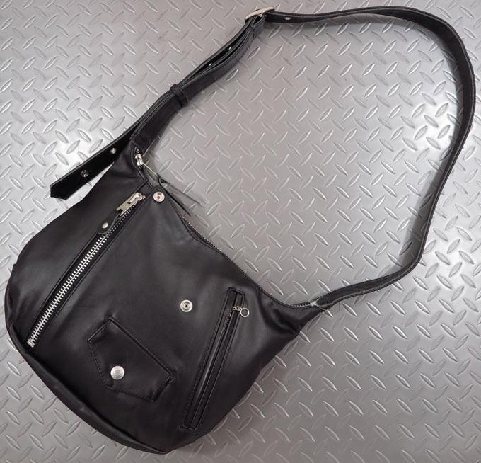 Schott,ショット,RIDERS SHOULDER BAG,ライダース ショルダーバッグ、レザーメッセンジャーバッグ、バナナバッグ、ボディーバッグ,BLACK(ブラック),3109063