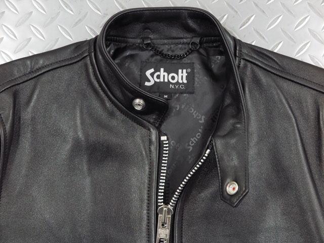 Schott,ショット,70's SINGLE RIDERS,シングルライダースジャケット,カフェ レーサージャケット,レザージャケット,BLACK(ブラック),3111052