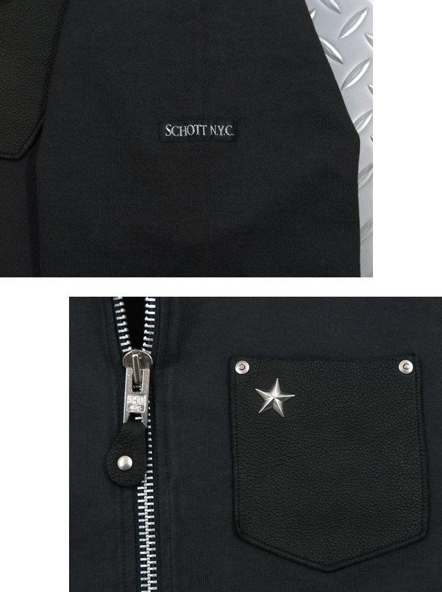 左胸の星型スタッズがポイント★Schott(ショット)の鹿革ポケット・ジップパーカ♪Schott,ショット,#3163063,DEER POCKET ONE STAR RIVET ZIP HOODIE,星型スタッズ入り、ディアースキンポケット付きフルジップパーカ,ワンスター ジップパーカ,BLACK(ブラック)