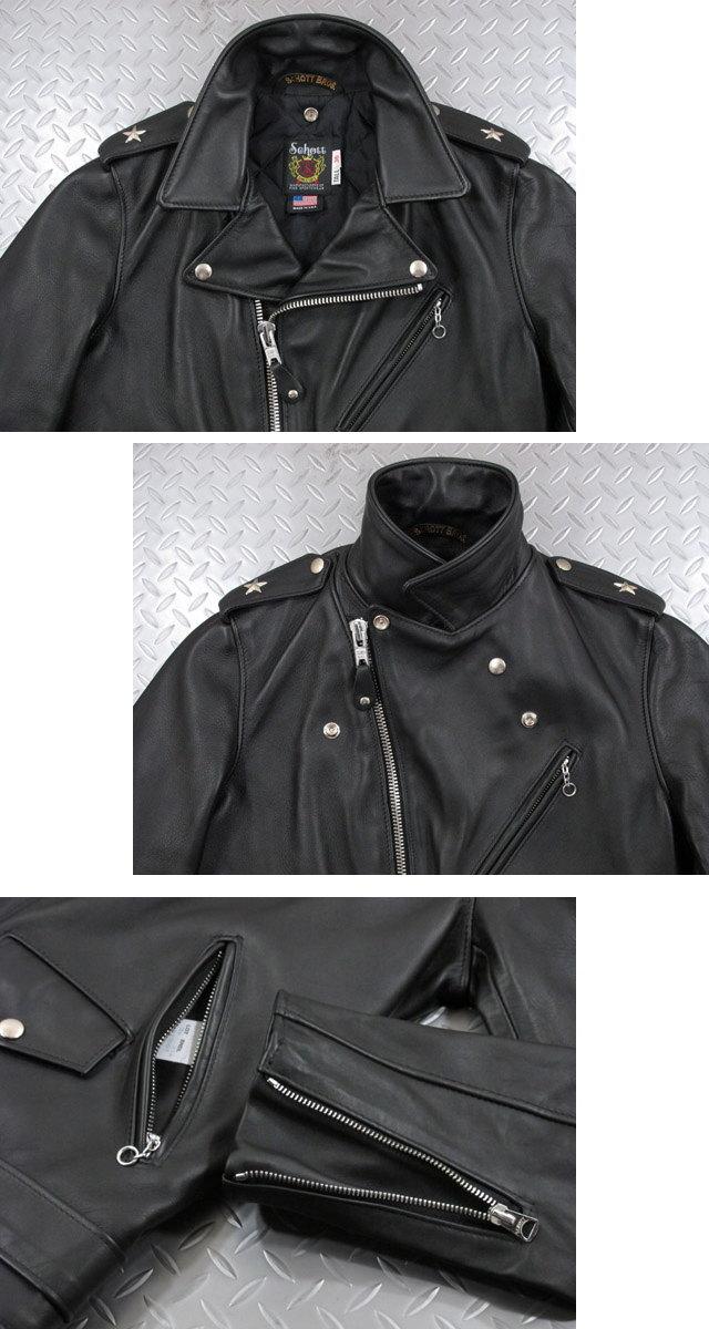 着丈が長くタイトシルエットの日本別注モデル★Schott,ショット,#613UST,ONE STAR RIDERS TALL,ヴィンテージ ワンスター ライダースジャケット、トールモデル,BLACK(ブラック),Lot;7164,