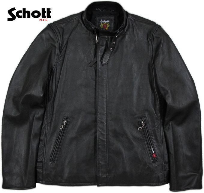 クールでスマートな、シングルライダースの決定版★Schott★クラシックレーサージャケット!!!Schott,ショット,SOLID CLASSIC RACER JACKET,ソリッド・クラシックレーサージャケット/ライダース ジャケット,BLACK(ブラック)/Lot;3161055