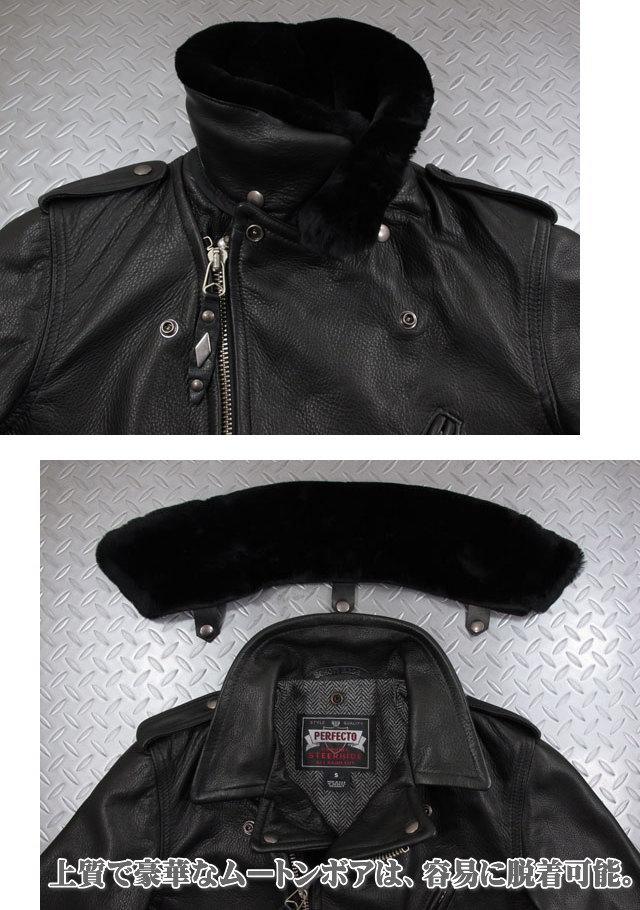 ゴージャスなリアルムートン襟は、容易に脱着可能!Schott,ショット,#7565, PER90 ANNIVERSARY PERFECTO JACKET, Schott社創立90周年記念限定 パーフェクトライダースジャケット,BLACK(ブラック)