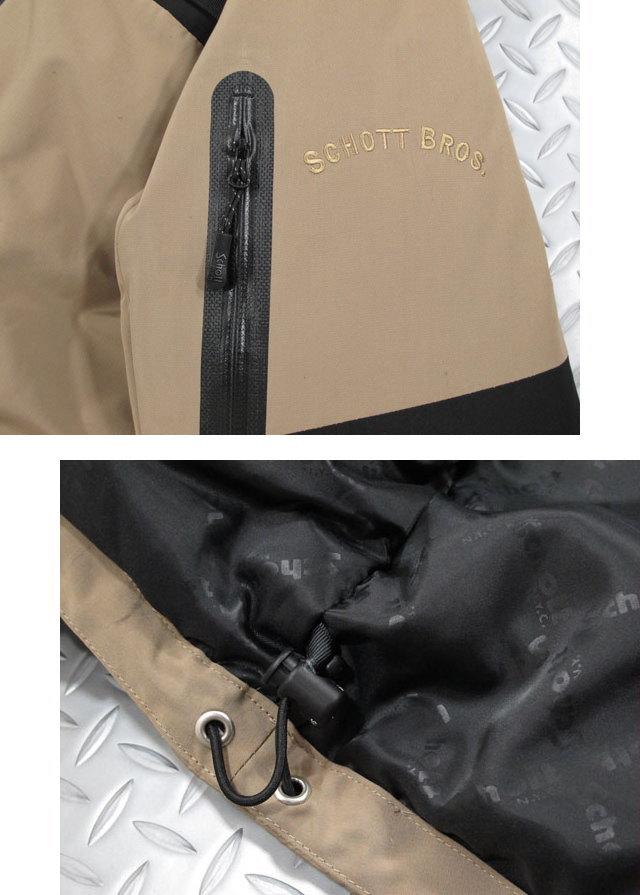 定番色とツートーンの切替しのアクティブダウン★Schottのアメカジダウンパーカ。Schott,ショット,#3182011, TWO TONE DOWN PARKA,ツートーンダウンパーカ/ジャケット,ダウンハーフコート