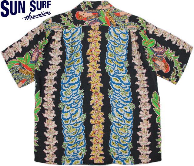 """ハワイを象徴するモチーフの代表格★レイとフラガール★二つのモチーフのみで構成~SUN SURF,サンサーフ,S/S HAWAIIAN SHIRT,""""HULA LEIS"""",フラレイ,レーヨン・アロハシャツ,ハワイアンシャツ,BLACK(ブラック),SS36821,"""