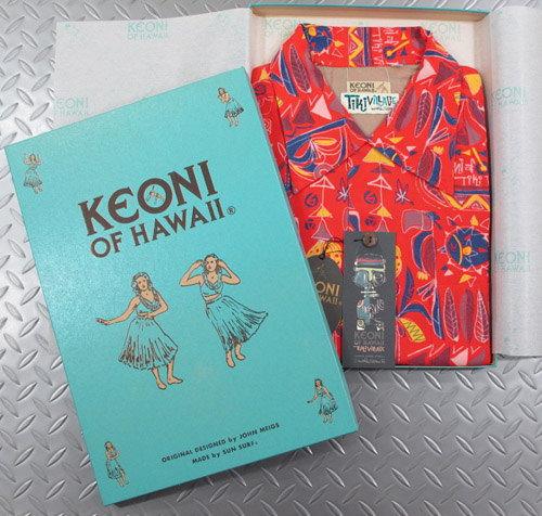 """アロハをこよなく愛する著名人のデザインによる、KEONIシリーズの最新作!ティキ・ビレッジ」byムーキーサトウ★KEONI OF HAWAII,ケオニオブハワイ,""""Tiki ViLLAGE"""" by Mookie Sato,「ティキ・ビレッジ」byムーキーサトウ,SS37333,RED(レッド)"""