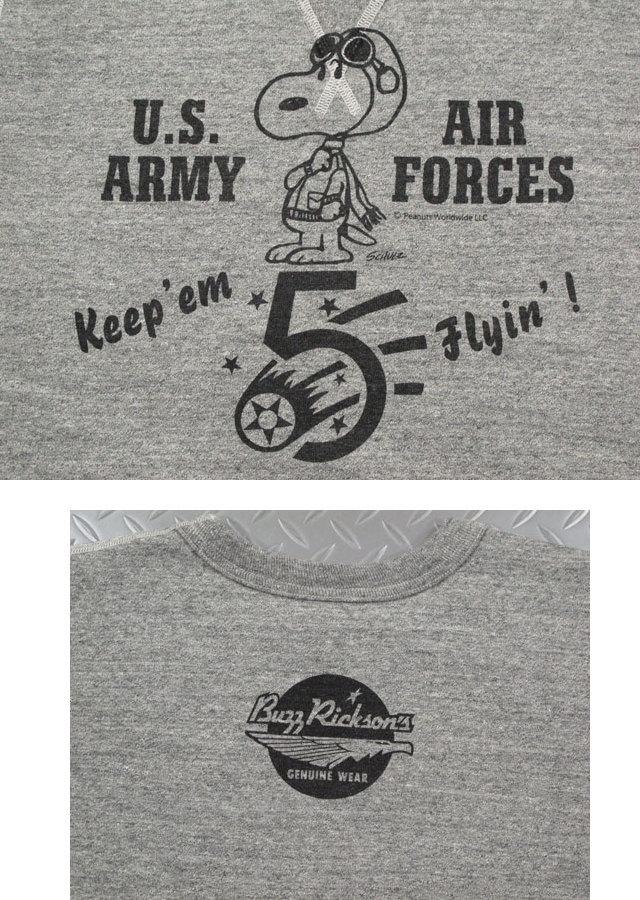 バズリクソンズとスヌーピー、夢のコラボレーション♪バズリクソンズの新作スウェットシャツ,BUZZ RICKSON'S×PEANUTS,バズリクソンズ×ピーナッツ,SET-IN CREW SWEAT,5th AIR FORCE,スヌーピー・バズスウェットシャツ/トレーナー,H.GRAY(ヘザーグレー),BR67171,