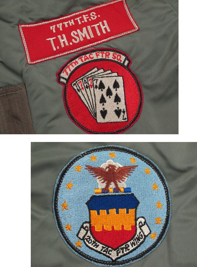 """トランプをモチーフにしたSquadronエンブレムパッチがポイント★BUZZ RICKSON'S,バズリクソンズ,Type MA-1""""LION UNIFORM INC.""""77th Tac. Fighter Sqdn 20th Tac. Fighter Wing,第77戦闘飛行隊,ライオンユニフォーム・MA-1ファースト,BR14113"""