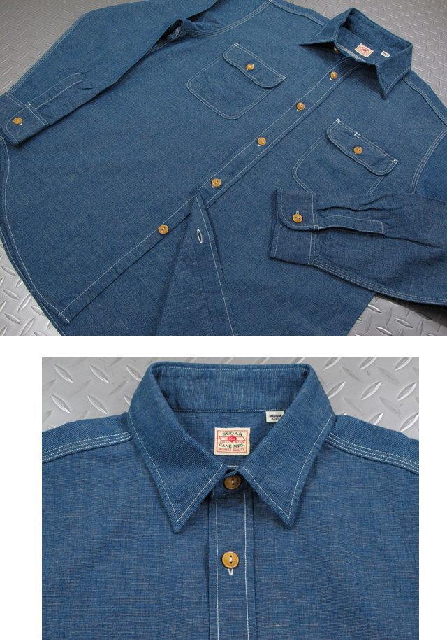 シンプルさとスマートさが、ウリ★デニム×無地シャツで、こなれた大人の洒落心を演出♪SUGAR CANE,シュガーケーン,5oz. COTTON/LINEN 75/25 L/S WORK SHIRT,コットン×リネン、長袖ワークシャツ,麻混ワークシャツ,NAVY(ネイビー),SC27510