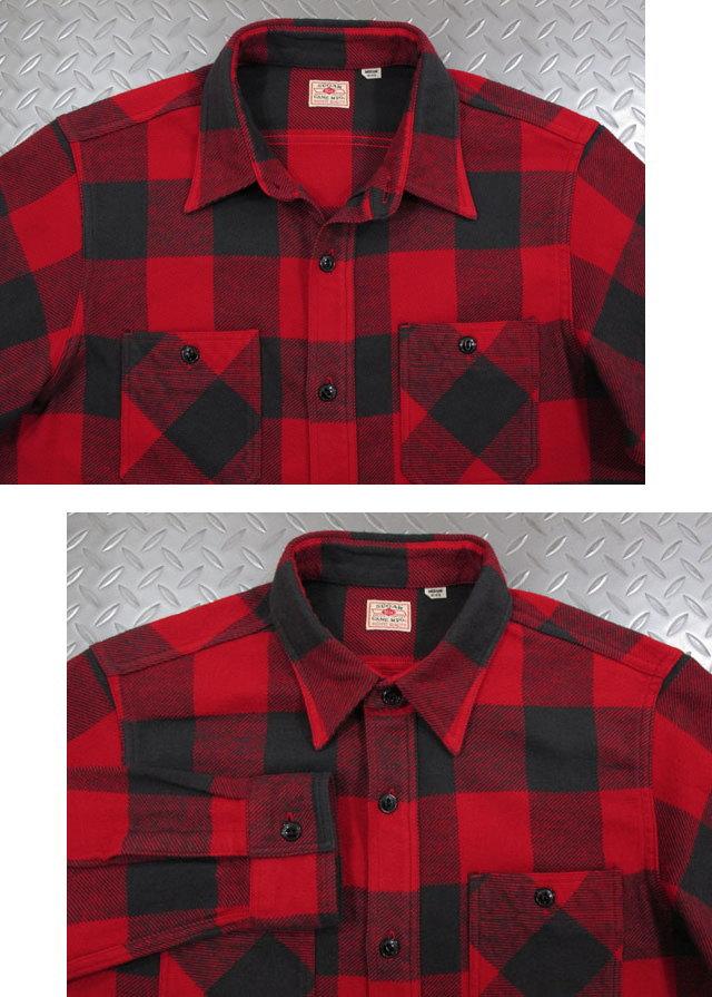 """女性ウケの良い""""チェックシャツ""""なら♪SUGAR CANE,シュガーケーン,TWILL CHECK L/S WORK SHIRT,ツイルチェック ワークシャツ,バッファローチェックシャツ,綿ネルシャツ,RED(レッド×ブラック),SC27963"""