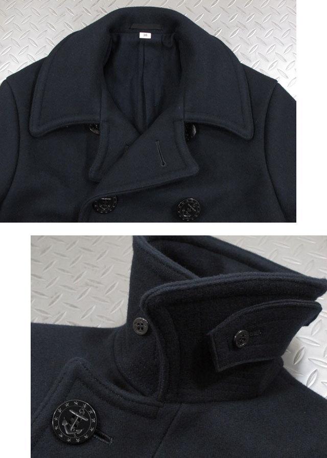 """さらに防寒性の高い、膝上丈のロング着丈のピーコート★BUZZ RICKSON'S,バズリクソンズ,ENLISTED MAN'S OVERCOAT, TYPE PEA COAT,""""NAVAL CLOTHING FACTORY""""WOOL LINING, P-COAT/ロング丈ピーコート,01)NAVY/ Lot;BR14146"""