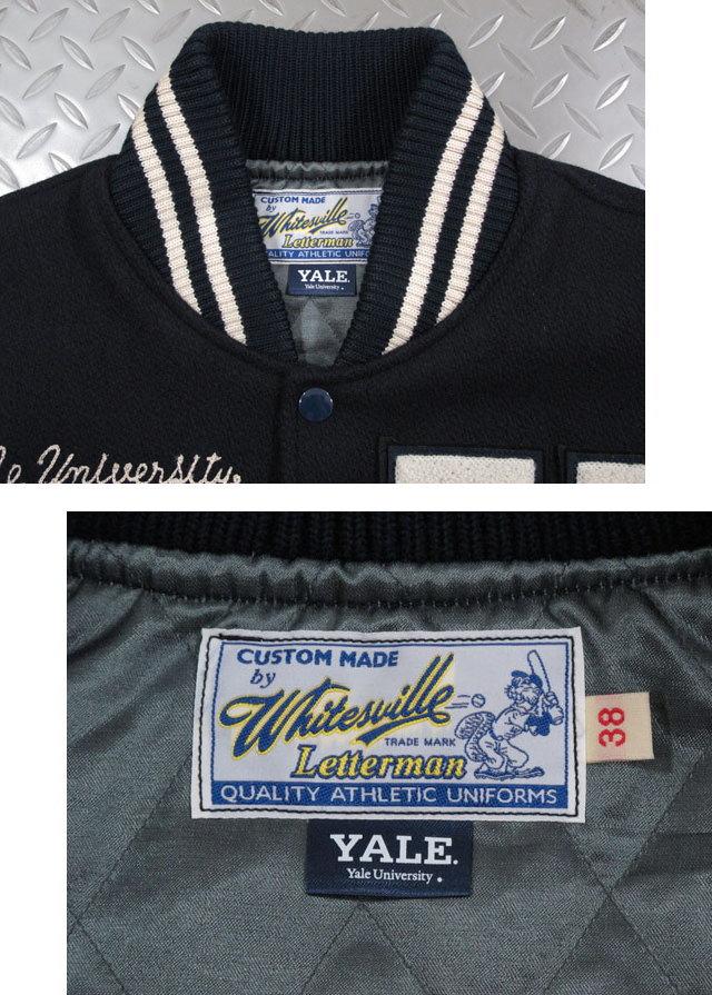 """アメリカ東海岸の名門校「YALE」に相応しいトラディショナルなスタジャン,Whitesville,ホワイツビル,30oz WOOL MELTON AWARD JACKET""""YALE"""",イェール大学コラボレーション・アワードジャケット,スタジャン,バーシティジャケット,NAVY/CREAM(ネイビー×クリーム),WV14219"""