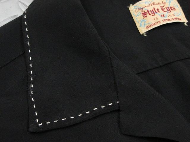 "50'sテイストたっぷり&クラシカルでマニアック★スタイルアイズの長袖レーヨンボウリングシャツ,STYLE EYES,スタイルアイズ,""SADDLE STITCH""L/S RAYON BOWLING SHIRT,サドルステッチ入り、長袖レーヨンボウリングシャツ,BLACK(ブラック),SE28070"