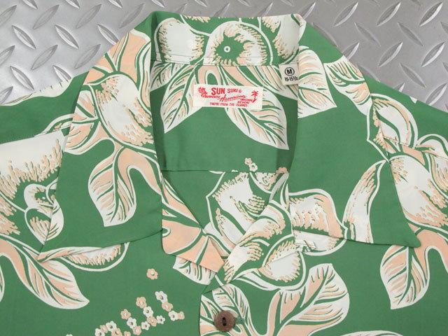 """厳選した柄を、当時の魅力そのままに再現★SUN SURF,サンサーフ,S/S RAYON HAWAIIAN SHIRT""""PATTERN OF TROPICAL PLANTS"""",パターンオブトロピカルプランツ、半袖レーヨン・アロハシャツ,半袖ハワイアンシャツ,SS38028,GREEN(グリーン)"""