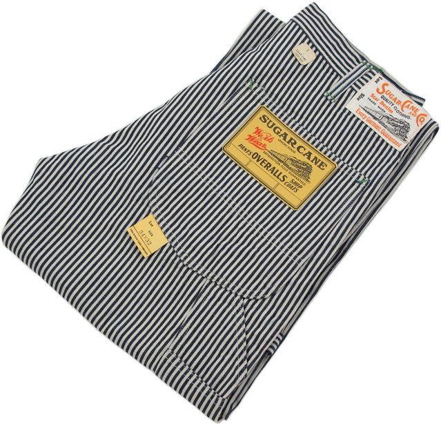 ロープ染色したインディゴが雰囲気満点★ヒッコリーストライプのワークパンツ,SUGAR CANE,シュガーケーン,11oz. HICKORY STRIPE WORK PANTS,11オンス、ヒッコリーストライプ ワークパンツ,ペインターパンツ,A.NAVY(ネイビー),SC41823