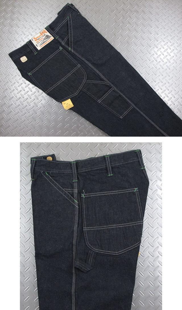 股上が深めで、ワタリから裾も太めのシルエットを持つ王道ペインター,SUGAR CANE,シュガーケーン,11oz. BLUE DENIMN WORK PANTS,11オンスブルーデニム、ワークパンツ,ペインターパンツ,A.NAVY(ワンウォッシュネイビー),SC41822