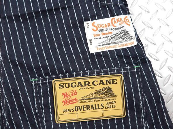 SUGAR CANE,シュガーケーン,9oz. WABASH STRIPE OVERALLS,ウォバッシュストライプ・オーバーオールズ,オーバーオール,サロペット,A/NAVY(ワンウォッシュ),SC41960