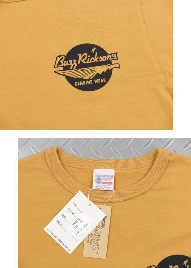 """BUZZ RICKSON'S×PEANUTS,バズリクソンズ×ピーナッツ,L/S T-SHIRT""""GO ARMY"""",長袖スヌーピープリントTシャツ,GOLD(ゴールド),BR68840"""