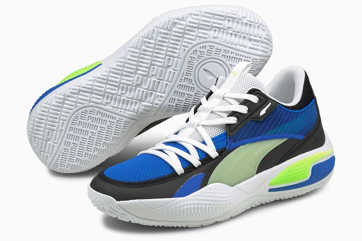 2021秋冬モデル プーマ PUMA バスケットシューズ コートアンドライダーI COURT AND RIDER I (Future Blue-Green Glare)【195634-01】