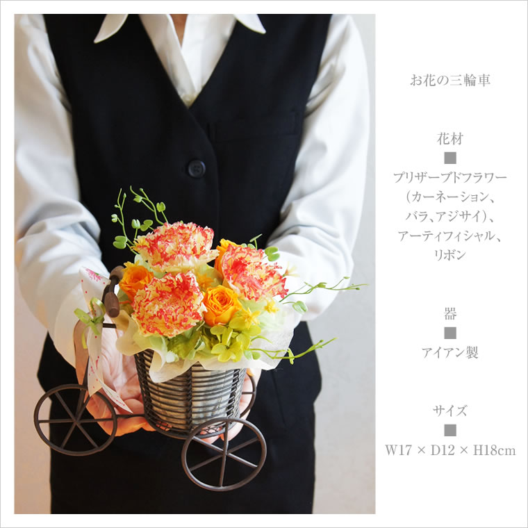 母の日やお誕生日に。プリザーブドフラワーのカーネーション、お花の三輪車、サイズ