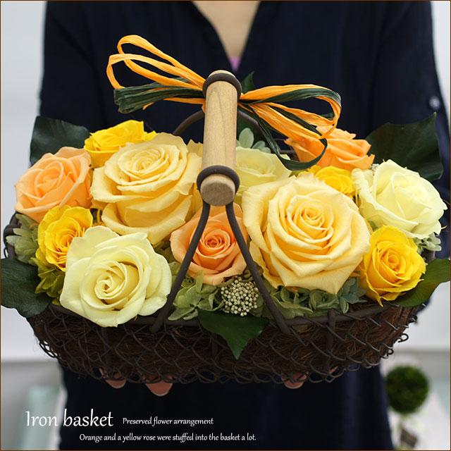 プリザーブドフラワー 黄色のバラ オレンジのバラ