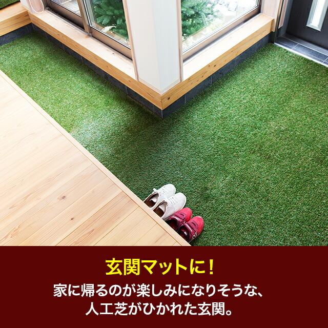 玄関マットに!家に帰るのが楽しみになりそうな、人工芝がひかれた玄関。