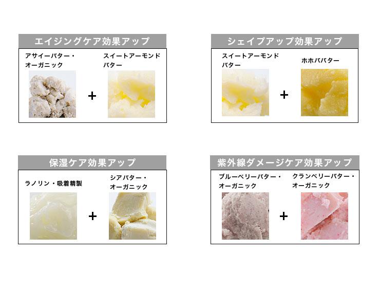 エイジング:アサイー+スイートアーモンド、シェイプアップ:アボカド+ホホババター、保湿:ラノリン+シアバター・オーガニック、紫外線ダメージケア:ブルーベリー+クランベリー