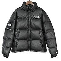 Supreme×THE NORTH FACE 17AW Leather Nuptse Jacket ラムレザーダウンジャケット メンズ ブラック M