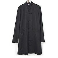 BLACK COMME des GARCONS 16AW ウールギャバジン チャイナロングシャツジャケット