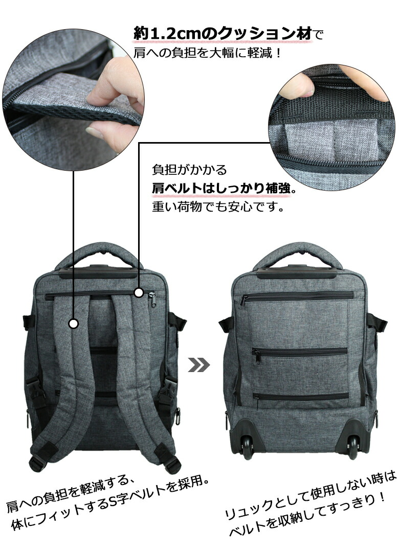 肩への負担を軽減するS字ベルトを採用。背負い心地も快適です。