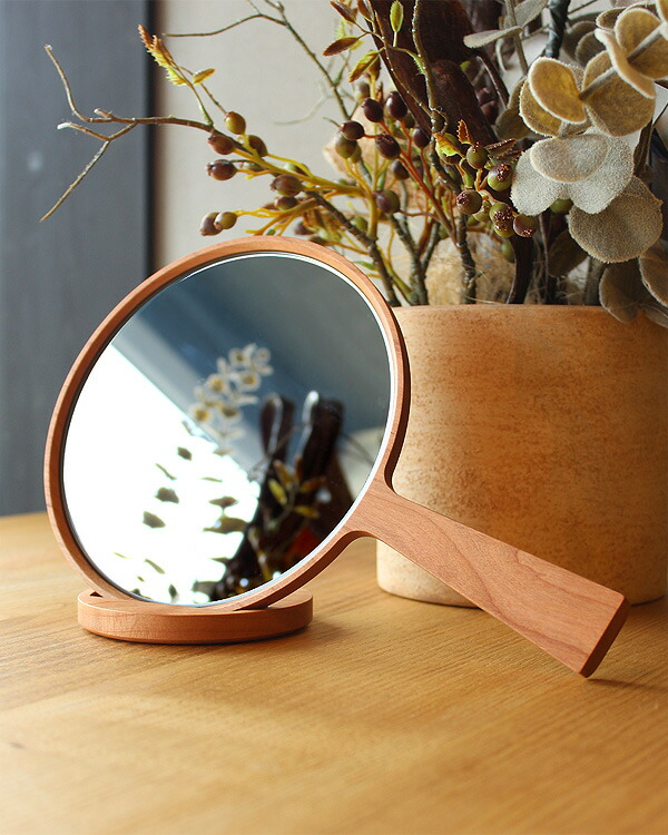 ハンドミラー・スタンドミラーとして使える木製手鏡「Face Mirror」